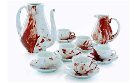 Cangkir Tea Set Kick On faux blood splattered china macabre coffee with the