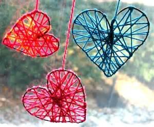 Valentine s day yarn hearts craft preschool education for kids