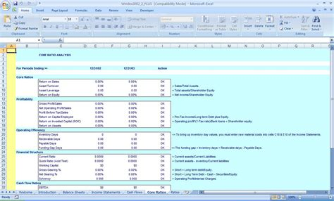 financial ratio analysis template excel business finance applications