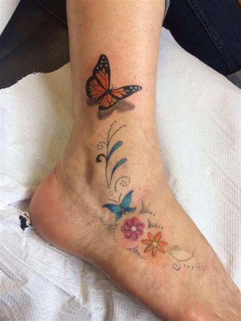 3d tattoo vine tattoo foot tattoo ankle tattoo butterfly s flowers