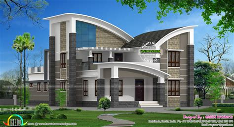 House Architecture Design Styles Modern Style Curved Roof Villa Home Inspiration