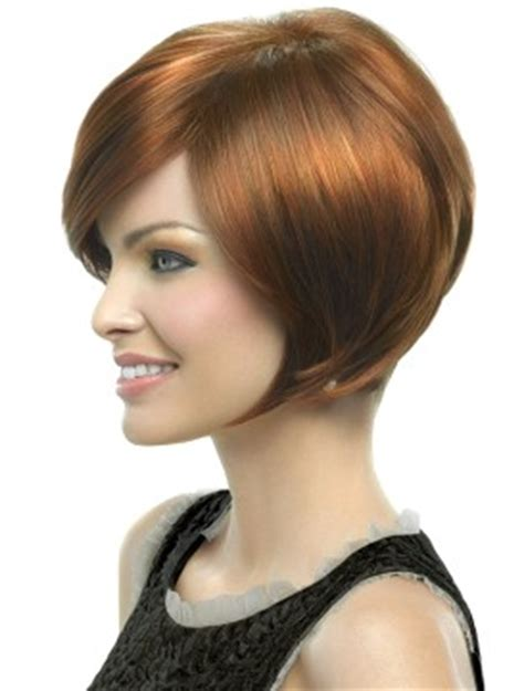 neck length bob with a side swept fringe and an angled parting layered bob heat friendly wig by hairdo gorgeoushairwigs