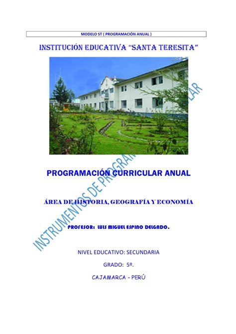 programacion curricular anual secundaria cta 2016 modelo de programacion curricular anual 2016 peru area