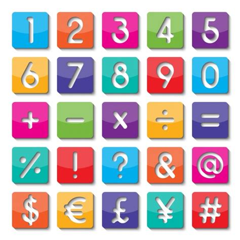 color symbols numbers and symbols of colors vector free