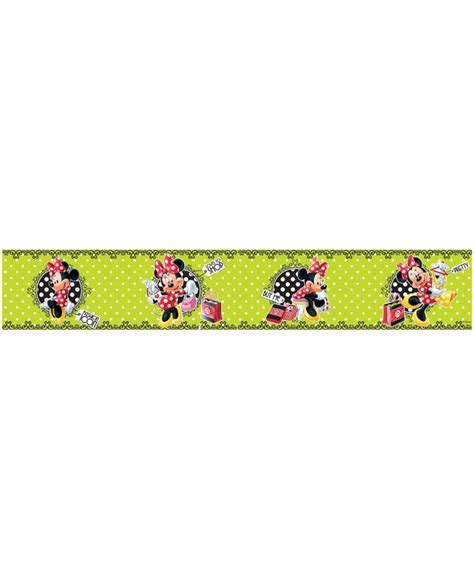Nursery Wall Stickers Next minnie mouse polka dot green self adhesive wallpaper border 5m