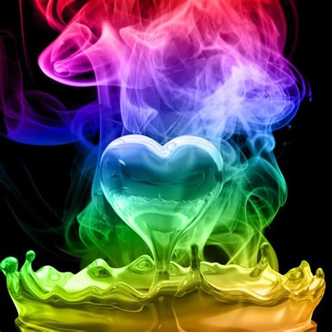 colorful wallpapers of love smoky liquid rainbow heart droplet glass transparent love