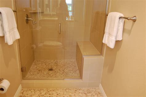 tan bathroom tile tan pebble tile showerpan contemporary bathroom by