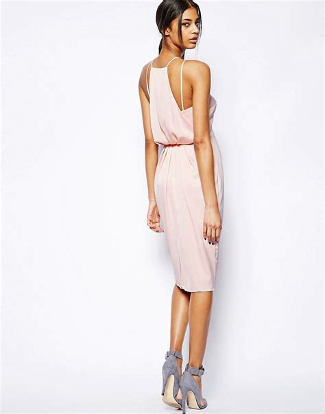 asos drape dress asos asos midi dress with drape back pencil at asos