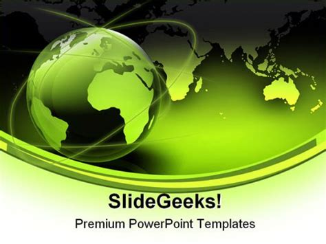 ppt templates free download green earth green globe map earth powerpoint template 0910