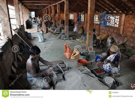 indian work indian work in the tile factory editorial photo