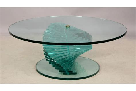 spiral coffee table a stacked spiral glass coffee table with large top