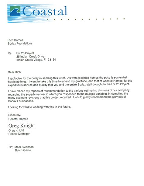Sle Letter Apologizing For Service Delay Bodax Foundations Inc