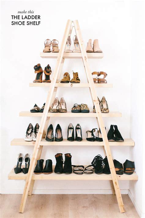 diy shoe shelf plans diy update the ladder shoe shelf a pair a spare