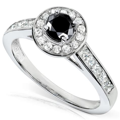 black white engagement ring