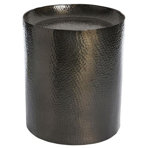 hammered metal side table pail industrial loft black hammered metal side table