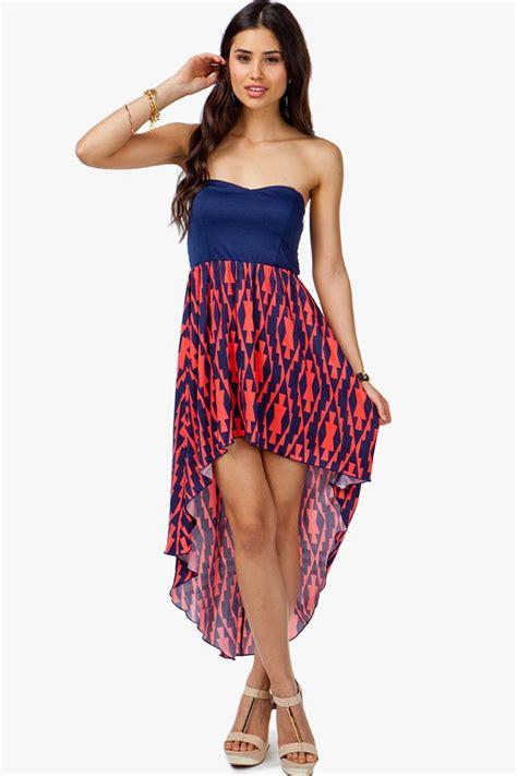 Abstrak Dress a gaci elastic back abstract tribal hi low dress dresses