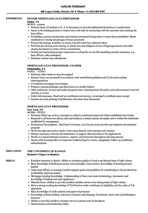 mortgage processor resume sle awesome mortgage loan processor resume photos