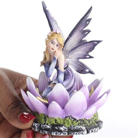 Delicate Purple Flower Fairy Figurine   Table Decor   Fall