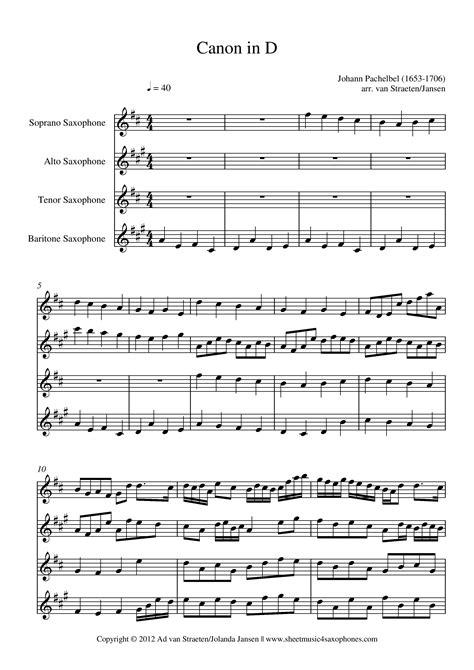 pachelbel canon in d for saxophone quartet