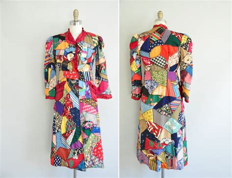 Patchwork Coat - 1930s antique patchwork quilt coat 30s novelty coat