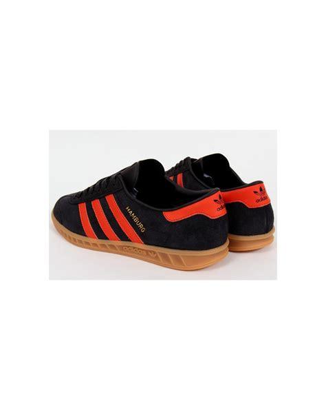adidas orange black adidas hamburg trainers black orange mens originals