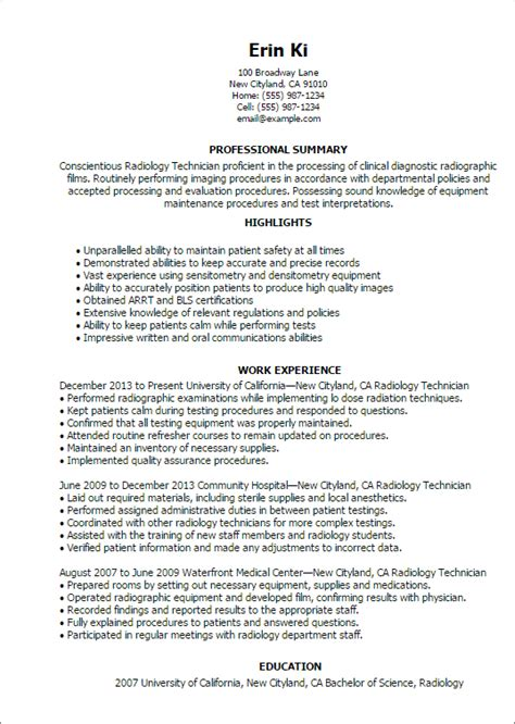 examples of radiologic technologist resumes resume template example