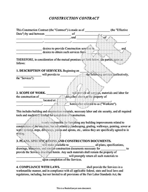 Construction Contract Template Contractor Agreement Construction Service Agreement Template