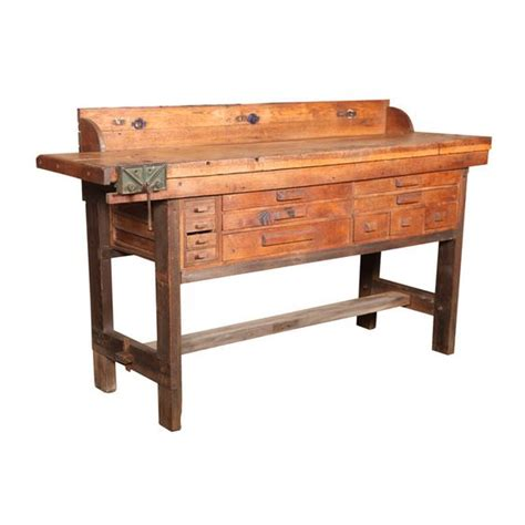 antique work benches original vintage american made oak work bench with vice