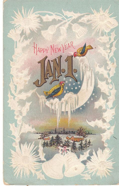 new year ebay vintage postcard new year jan 1 birds on moon snow