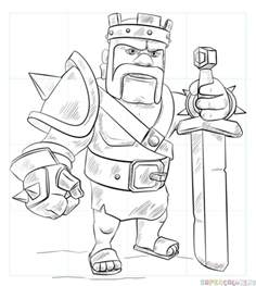 how to draw clash of clans barbarian king sketch coloring page