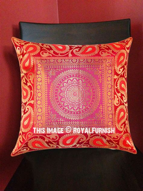 Square Pillow Sham by Pink Medallion Floral Circle Decorative Square Silk Pillow