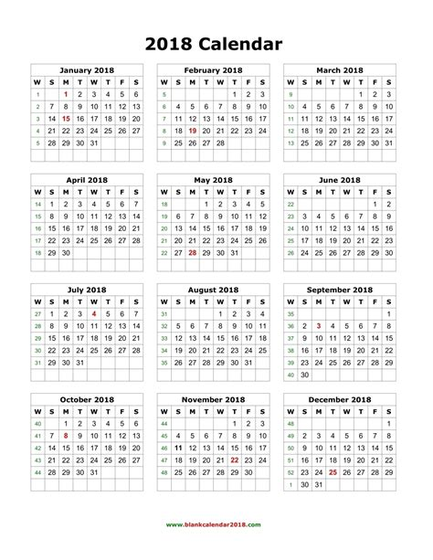 Year At A Glance Calendar 2018 Template