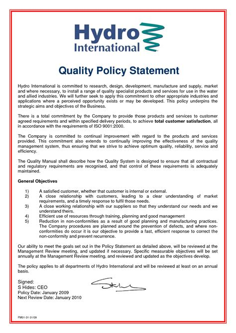 quality policy template best photos of quality policy statement quality policy