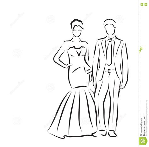Hochzeitseinladung Zeichnung by Wedding Dress Sketch Vector Illustration On White