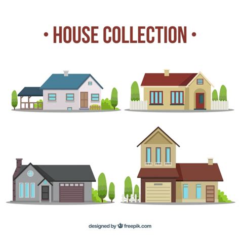 Home Design Vector Various Houses In Flat Design Vector Free
