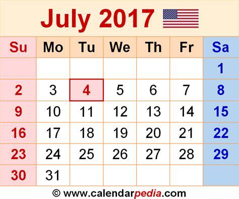 Calendar 2017 July Month July 2017 Calendars For Word Excel Pdf