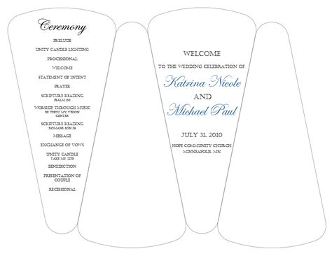 8 best images of wedding program template free printable