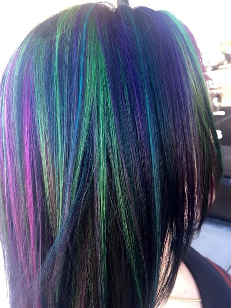 colored highlights multi colored highlights green highlights pink