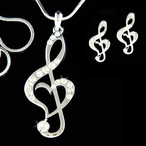 Treble Clef Pendant Necklace Kalung Musik Kunci G swarovski treble g clef musical note by kashuen 78 00 jewelery and other