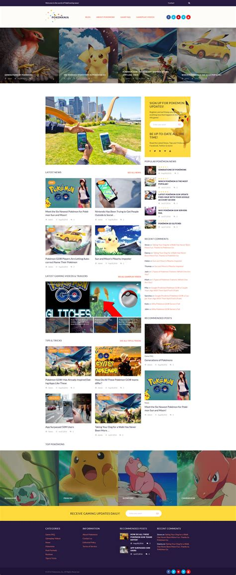 themes of pokemon games pokemania game portal pokemon wordpress theme 60087