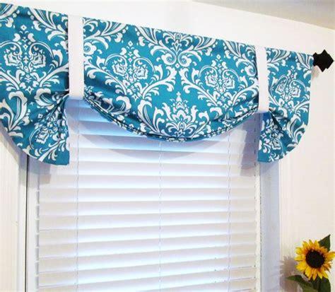 Turquoise Kitchen Valance Tie Up Lined Valance Turquoise Damask Custom Sizing