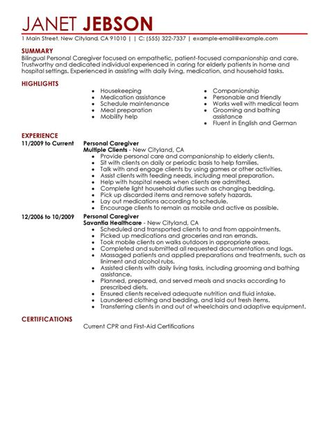 personal care resume exles personal care services resume sles livecareer