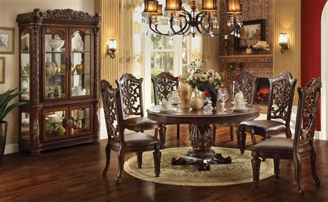 Acme Dining Room Set Acme Vendome 7pc Single Pedestal Dining Room Set In Cherry By Dining Rooms Outlet