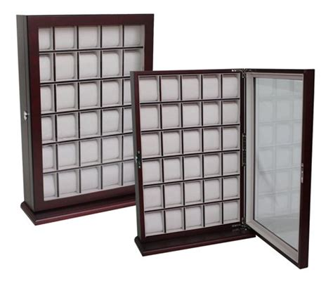 15 Deep Base Cabinets 30 Piece Cherry Wood Watch Display Wall Hanging Case And