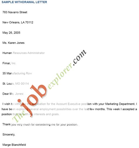 Withdrawal Letter For Position Sle Withdrawal Letter