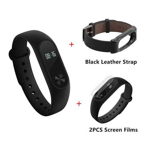 Xiaomi Mi Band Bracelet Black xiaomi mi band 2 smart bracelet black leather
