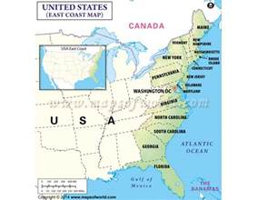 east coast map usa states