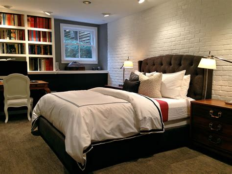 faux brick panels Bedroom Contemporary with accent wall