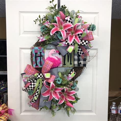 flamingo wreath front door wreath wreath   day