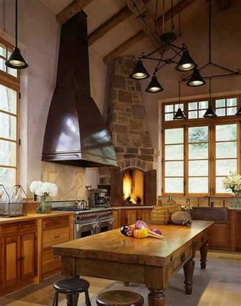 kitchen fireplace design ideas rustic log cabin kitchen k i t c h e n s pinterest